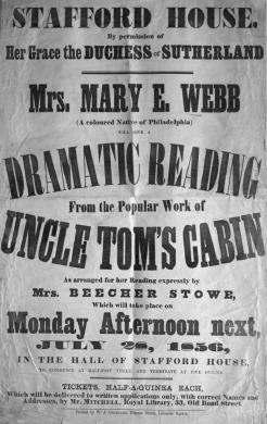 "Document 4 Mrs. Webb s reading of Uncle Tom s Cabin was reviewed in Boston s The Liberator (1855) ""Mrs."