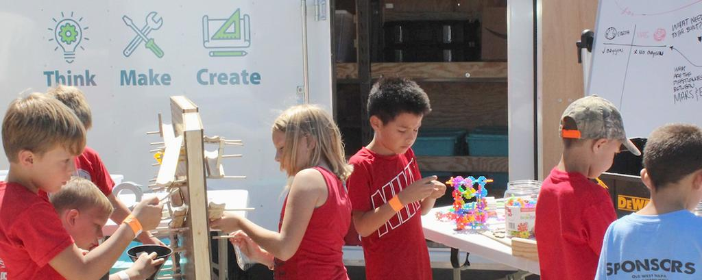 100 Learning Can Take Place Anywhere Outfitted with all kinds of materials, games, tools, and a pop-up table and awning, Nebraska s 7-by-12- foot mobile makerspaces unfold to become instant