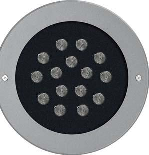 circular recessed in-ground walk-over and drive-over uplighters.