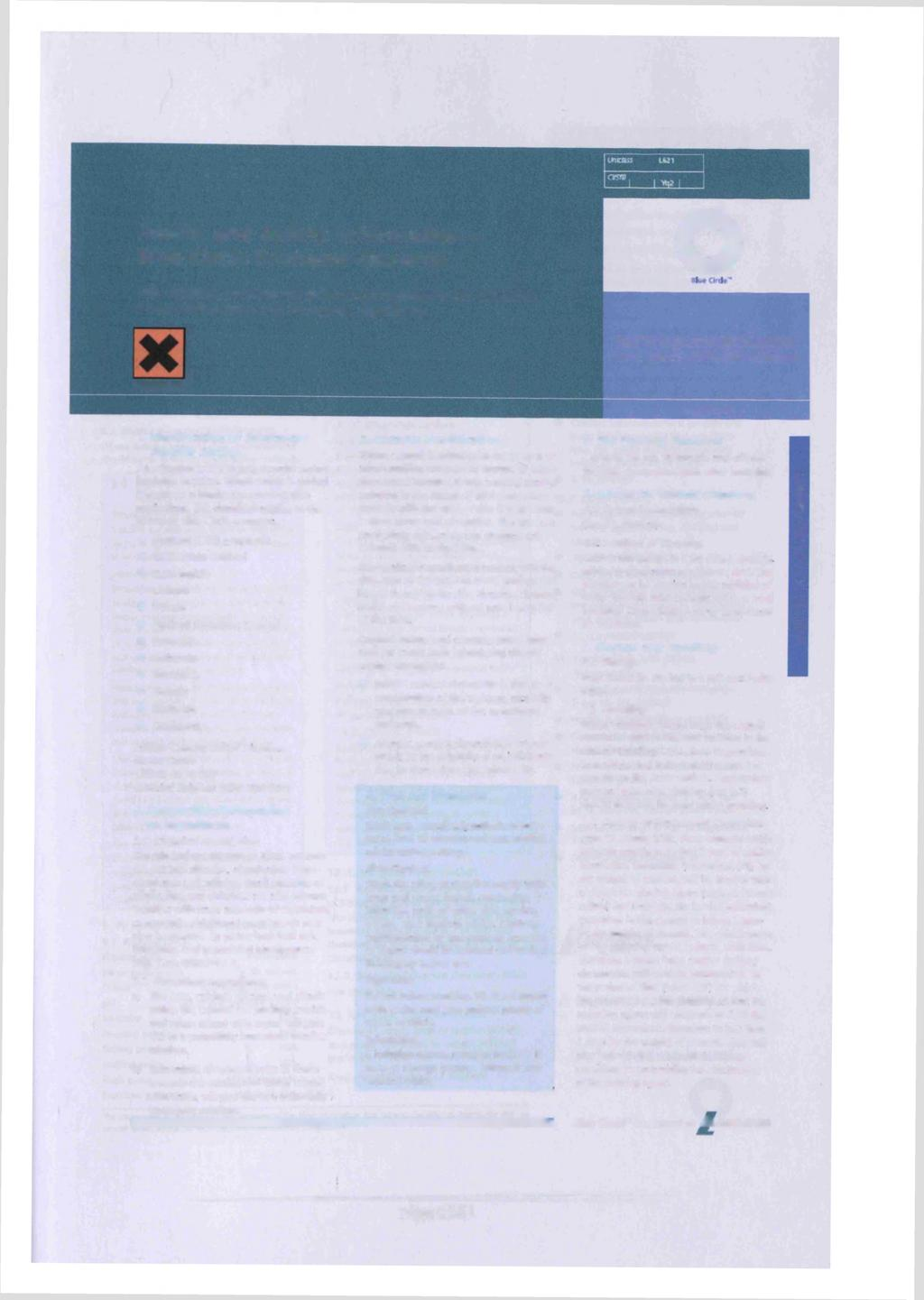 Health and Safety Information - Blue Circle Portland Cements o This datasheet provides the information required by the Chemicals (Hazard Information and Packaging) Regulations.