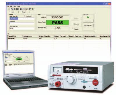 TOS5050A /TOS5051A Hipot Tester External dimensional diagrams Unit: mm SD004-TOS5000A (Data Acquisition for TOS5051A/5050A) Providing an easy way to collect, manage, and save test results Highly