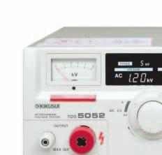 In addition to having an output of 5 kv AC at 100 ma, this model permits output voltage presetting, selection of output frequency (50 or 60 Hz), and rise-time control to control time for voltage to
