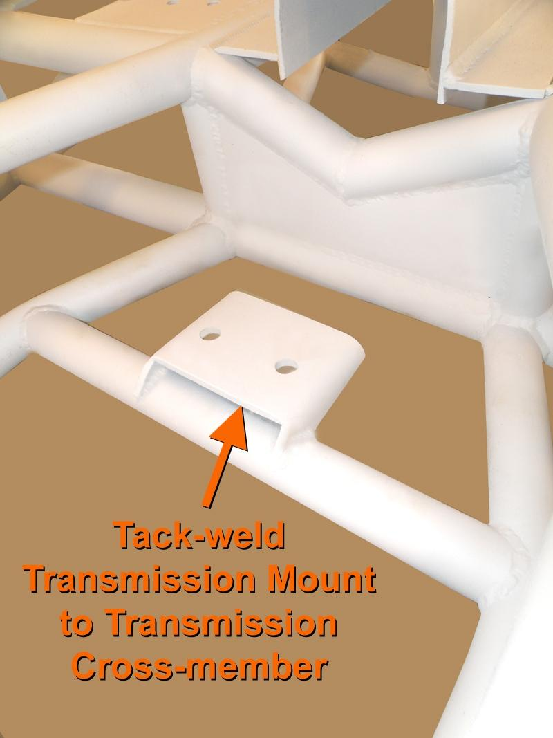 STEP 15 tack weld Transmission Mount to Transmission Cross-member Ensuring the Transmission Mount is centered on the Transmission Cross-member, tack-weld the mount in position.