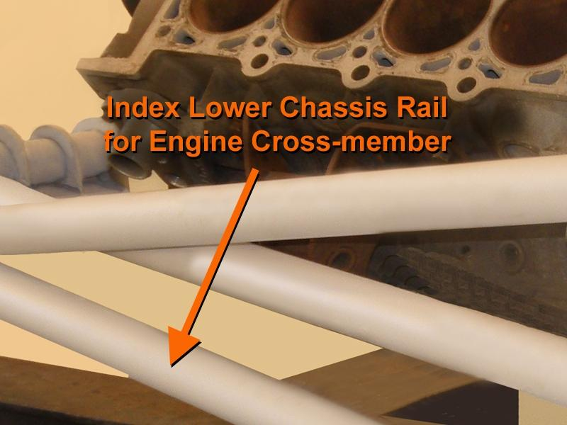 STEP 6 index Engine Cross-member position on Lower Chassis Rails With the engine and transmission accurately positioned, mark the top of the left and right Lower Chassis Rails indicating
