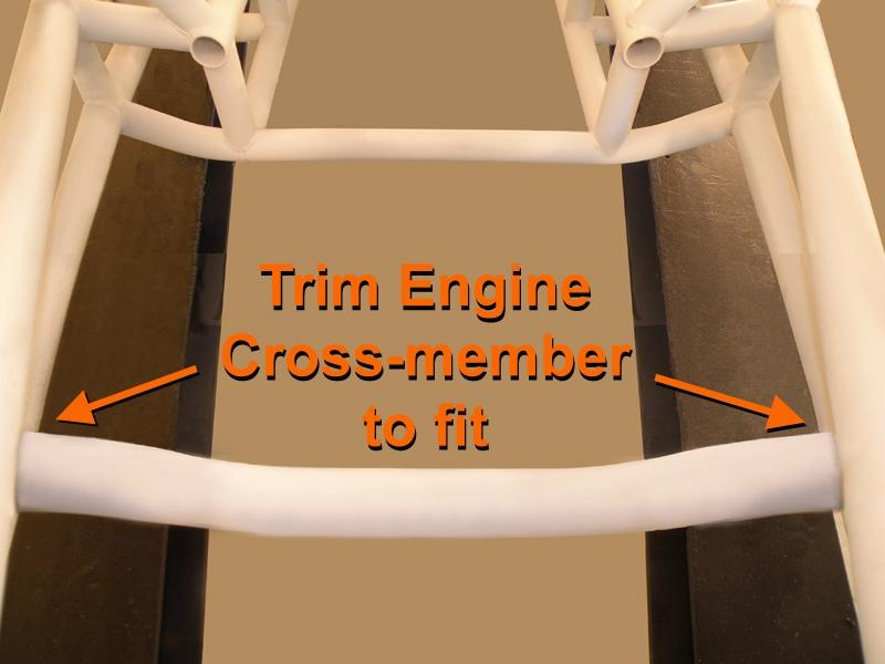 STEP 8 cut Engine Cross-member to fit between Lower Chassis Rails Accurately measure the distance between the Lower Chassis Rails at the index marks made in STEP 6.