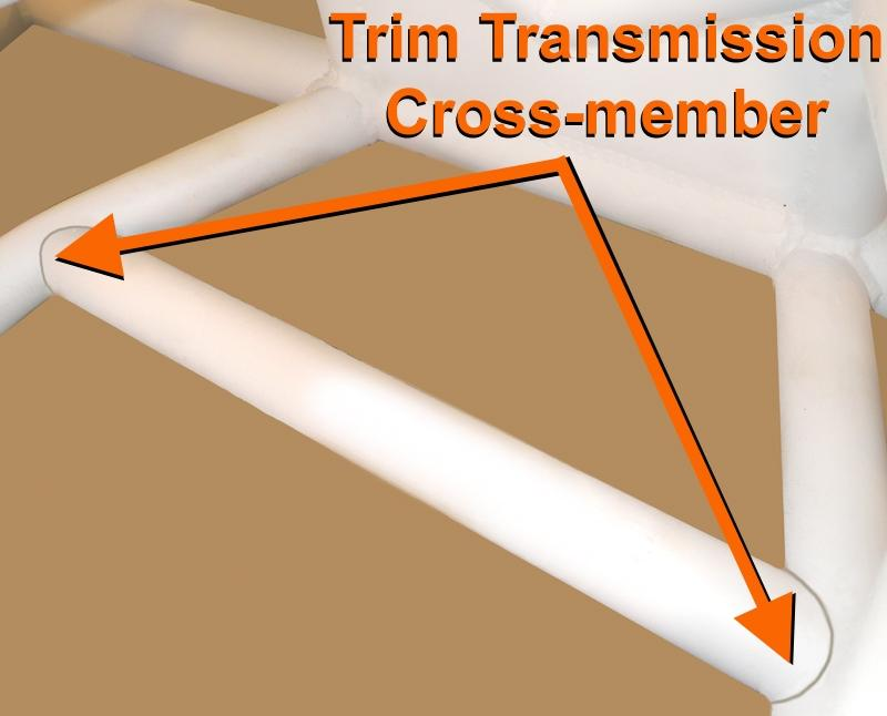 STEP 14 cut Transmission Cross-member to fit between Lower Center Chassis Cross-member Accurately measure the distance between the Lower Center Chassis Cross-member at the index marks made in STEP 13.