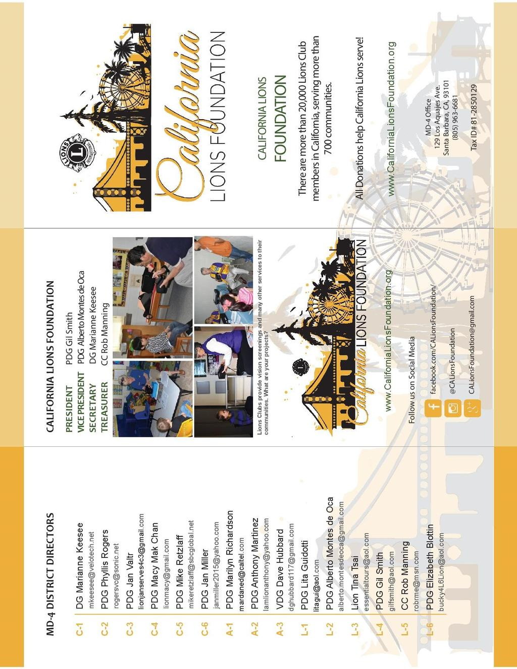 THE CALL TO SERVICE... Page 8 California Lions Foundation Brochure.