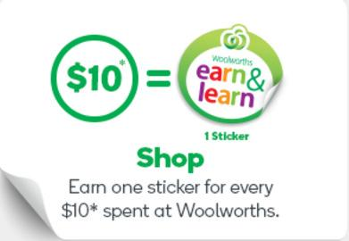 From Wednesday 26th July to Tuesday 19th September or while stock lasts, we are collecting Woolworths Earn & Learn Stickers.