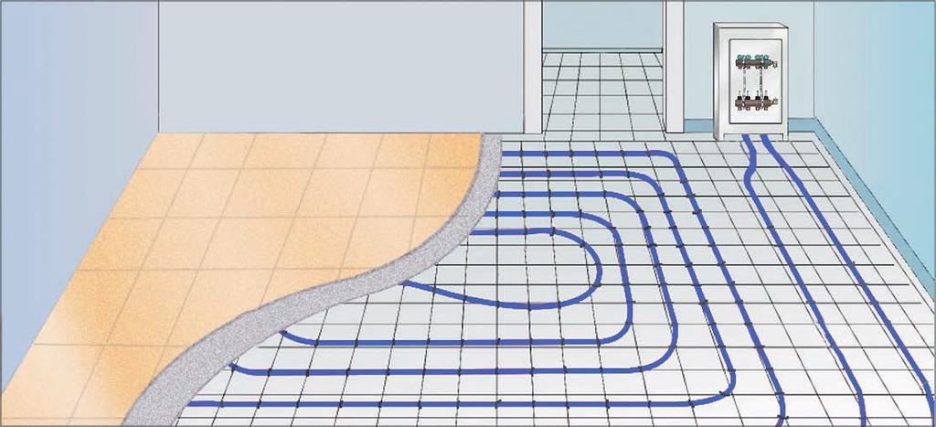 System KAN-therm floor heating - elements 1. Heat pipes. 2. Edge insulation. 3. Thermal and and damp-proof insulation. 4. Heating screed. 5. Manifold for floor heating. 6.