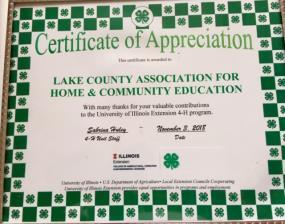00 award to the following winners on November 3, 2018 at the 4-H awards program held at the State Bank of the Lakes in Grayslake: Treasurer -