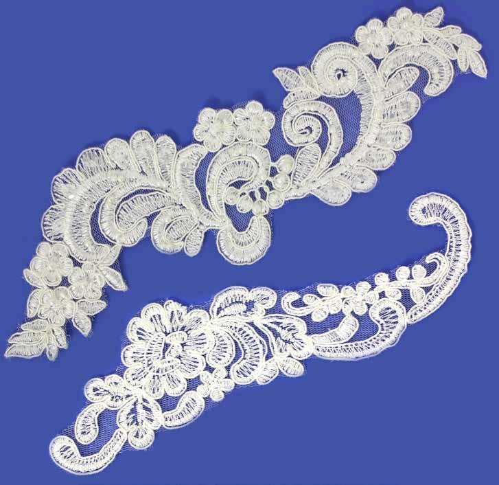 Floral Motifs Bridal Dress Patch M46 5 Corded Lace Applique Motif Ivory
