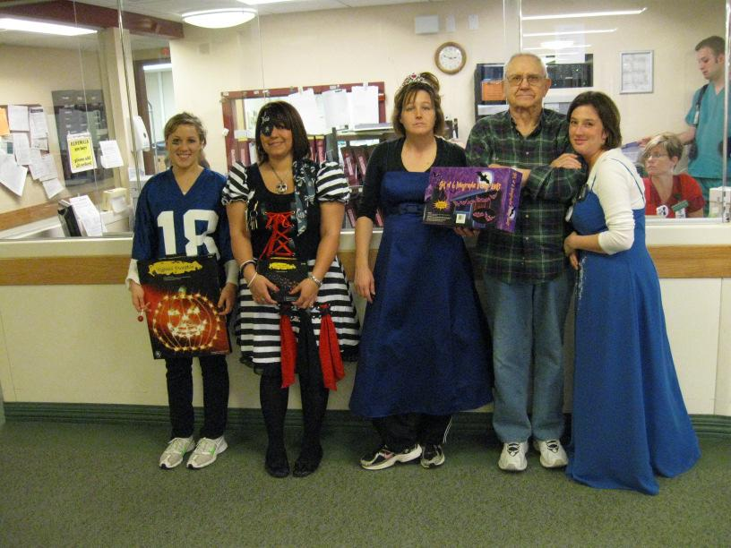 , Anne G., Desiree Y., and Jennifer E. 2nd Prize Shannon F. dressed as a pirate 3rd Prize Cece F. dressed as a football player.