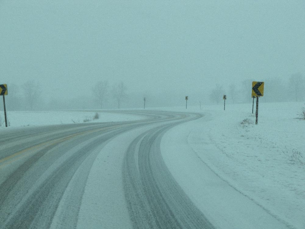 Roadways to the north of the City of London developed a covering of snow that made control a little more difficult.