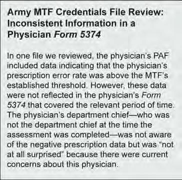 Credentials staff at most MTFs we selected told us that performance data were maintained by individual departments, but acknowledged that data were not being consistently submitted to credentials