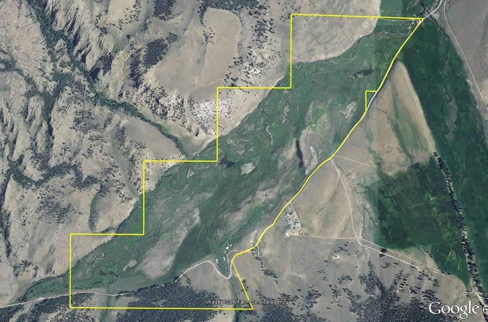 Sleeping Dog Ranch Aerial Map Public land shown in green