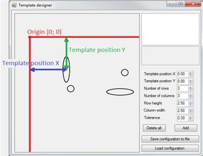 7 OPERATION It is possible to add templates that can be combined. Set new parameters and press the Add button again. You can combine both of the created templates into the designer plane.