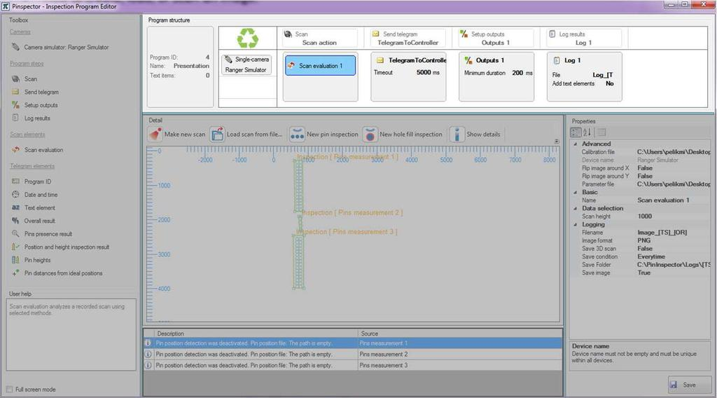 INSPECTION PROGRAM EDITOR 6 6.2 Program structure You can create or design the Inspection program structure by inserting the components from the Toolbox into the Program structure.