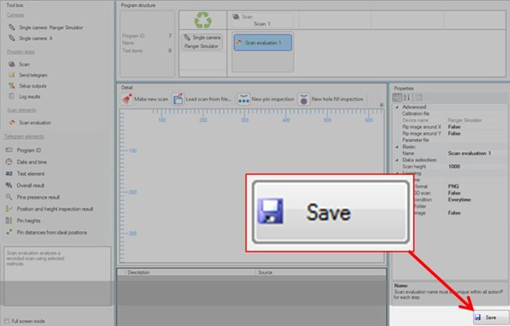 6 INSPECTION PROGRAM EDITOR 6.7 Save button You cannot run the Inspection program if at least one red warning error is present in the description results.