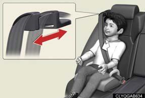 Adjusting shoulder belt height (front seats only) To raise: push the