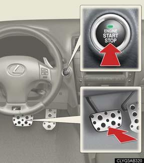 Engine (Ignition) Switch With the electronic key on your person, the engine can be started by simply pressing the ENGINE START STOP switch while depressing the brake pedal.