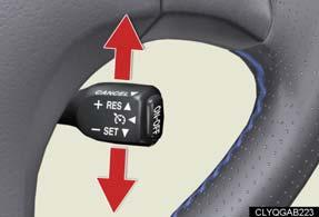 Canceling 1 2 To temporarily cancel the cruise control, pull the lever toward you.