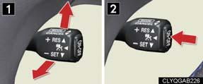 Vehicle-to-vehicle distance can be adjusted using the distance switch. 1 2 Press the ON-OFF button.