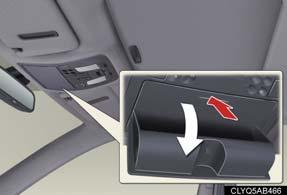 Overhead To open, press in the overhead console.