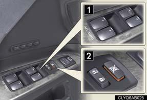 Power Windows Moon Roof (If Equipped) Opening and closing 1 2 1 2 Power window switches To