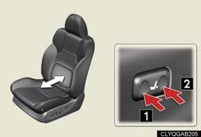 the seatback Adjusting seat cushion 1 2 Raises and lowers the front of the