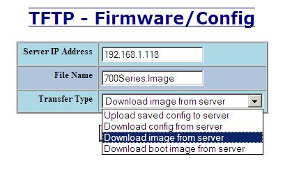 Administrators can also download an Image or Boot Image file to the switch via TFTP, allowing them to update the firmware in the field without losing their current configurations and without having