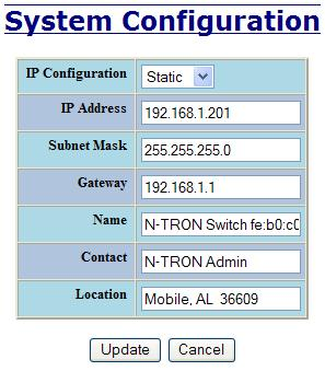 Administration System, Continued By selecting the Modify button, you will be able to change the switch s IP Configuration, Client ID, IP Address, Subnet Mask, Gateway, Name, Contact information, and
