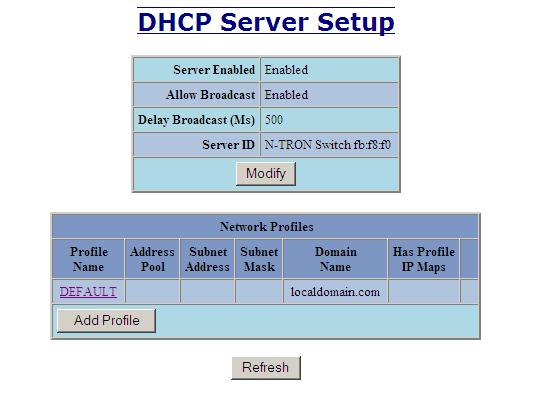 DHCP Server Setup Profiles The Setup Profiles tab under the DHCP/Server category lists the following information about the current state of the server and the existing network profiles: Server