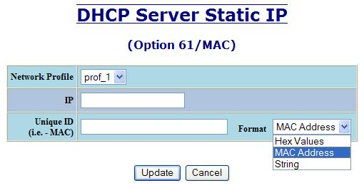 DHCP Server Setup IP Maps, Continued The Single IP type of mapping is used to create a static IP address for an individual client.