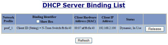 DHCP Server View Bindings The View Bindings tab lists the bindings of physical devices to IP addresses that are in use or offered: Network Profile The profile applied to the binding entry.