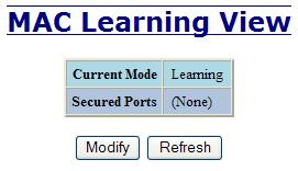Ports MAC Security Learning The Learning tab allows the administrator to control the learning or locking modes for the ports. Locked is the secure mode.