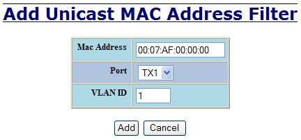Bridging Unicast Addresses The Unicast Addresses tab under the Bridging category will display a list of MAC addresses that are associated with each respective port number.