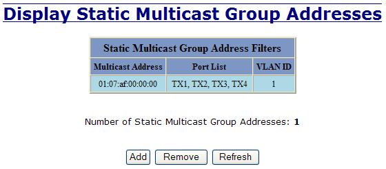 Bridging Multicast Addresses Continued After adding a Multicast Group Address, it will appear on the main list and will show the associated ports that go along with that address.