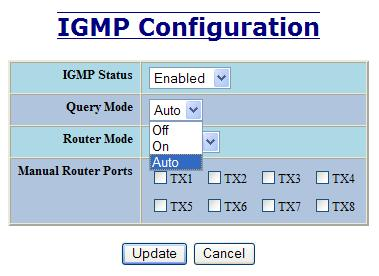 IGMP Configuration, Continued The IGMP Status pull-down allows the user to enable or disable IGMP completely.