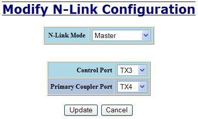 N-Link Configuration, Continued The N-Link Mode is one of two choices, as below: If N-Link mode is Master, then the administrator must configure the Control Port (default: TX3) and the Primary