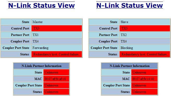 Below is an example of N-Link Status from an N-Link Master and Slave