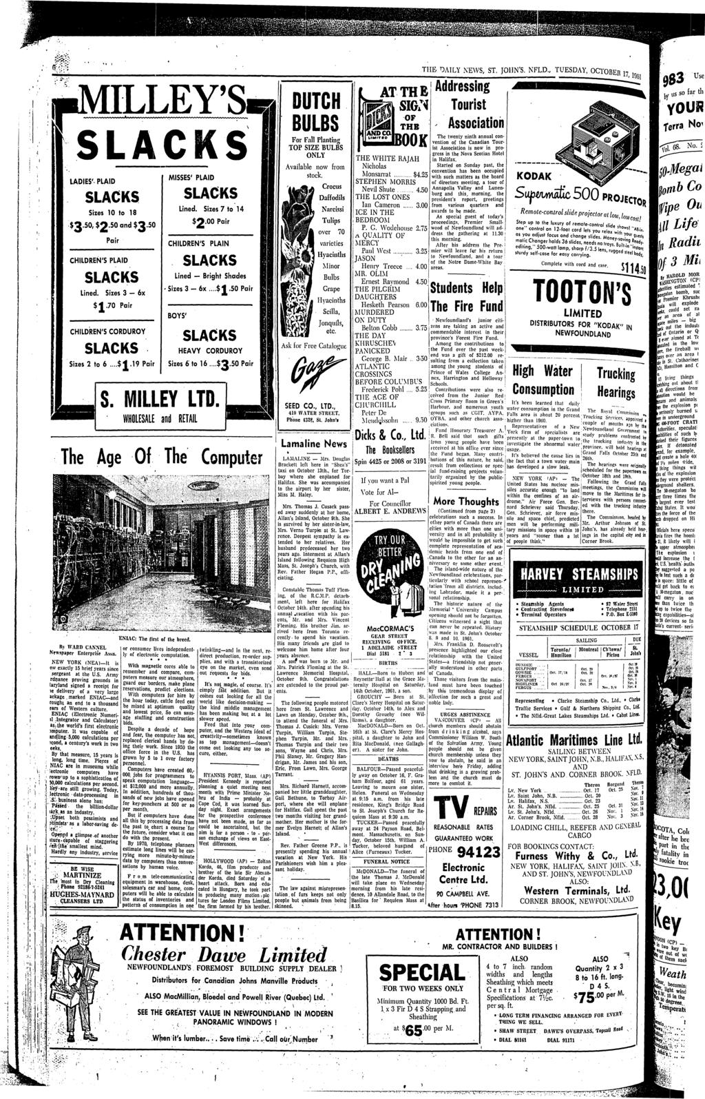 THE DAILY NEWS, ST. JOHN'S, NFLD., TUESDAY, OCTOBER 17, Into B. a ...