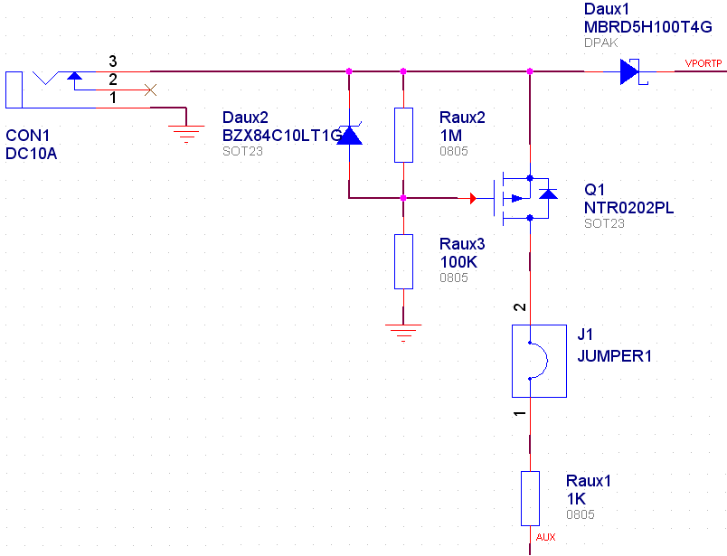 to flow through the auxiliary resistor divider, the AUX pin voltage would rise above the threshold, and turn of the PoE, even when no auxiliary supply is available.