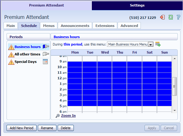 13.3.3 Configuring Premium Attendant Schedule Configure your weekly schedule by clicking on the Weekly Schedule and Holidays icon.