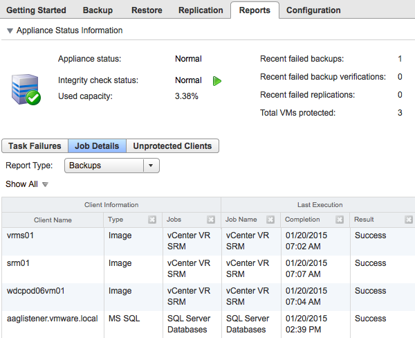 Reporting The Reports tab in vsphere Data Protection displays a variety of information: appliance status, used capacity, backup and replication job details, and so on.