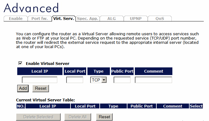 Virtual Server Use the Virtual Server function when you want different servers/clients in your LAN to handle different service/internet application type (e.g. Email, FTP, Web server etc.