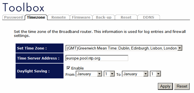Time Zone The Time Zone allows your router to base its time on the settings configured here, which will affect functions such as Log entries and Firewall settings.
