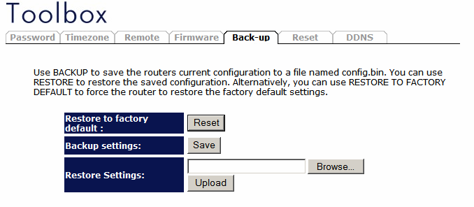 Backup Settings The Backup screen allows you to save (Backup) the router s current configuration settings.