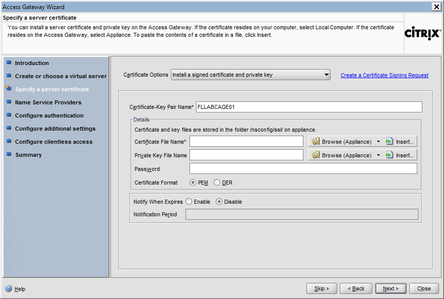 Configuring Citrix Access Gateway Enterprise Edition 5 Select the radio button labeled New in order to create a new virtual server for Citrix Access Gateway Enterprise Edition.