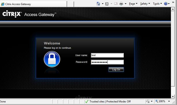 External Access Scenario External Access Validation 1 From a workstation outside of the enterprise network, launch a web browser and navigate to the Citrix Access Gateway virtual server IP address.