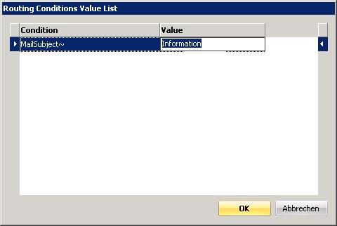Click into the field behind Condition to specify the value.